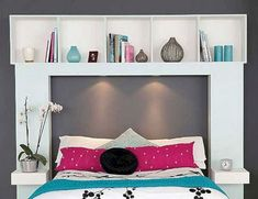 DIY Headboard Storage Collections For Your Perfect Bedroom Diy Bed Headboard, Make Your Own Headboard, Headboard With Shelves, Diy Headboards, Headboard Ideas, Diy Storage Ideas For Small Bedrooms, Small Bedroom Storage, Bedroom Shelving, Linen Storage