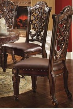 Vendome Side Chair (Set of in PU & Cherry - Acme Furniture 60003 60003 Features: Armless ChairPadded Seat Cushion: PU with Nail-head Trim (Wooden Backrest: Cut-Out Floral Molding)Wooden Seat Apron with Molding TrimWooden Tapered Leg: Floral MotifVintag Formal Dining Tables, Metal Dining Table, Dinning Chairs, Dining Table Design, Side Chairs, Dining Sets, Furniture Direct, Acme Furniture, Couch Furniture