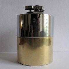 Encendedor A Gas, Bronce Y Cromo, Retro 1960