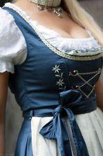 tolles Designer Dirndl 36 46 NEU Mididirndl blau creme weiß knielang