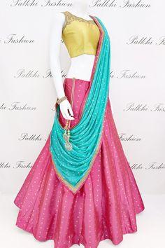 Magenta Silk Lehenga Set With Beautiful Color Combination Lengha Blouse Designs, Lehenga Saree Design, Half Saree Designs, Blouse Designs Silk, Lengha Design, Lehenga Gown, Anarkali Suits, Indian Fashion Dresses, Indian Designer Outfits