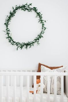 We know that greenery in the nursery is hot for 2017, but we've never considered a nursery wreath?!? What do you think?