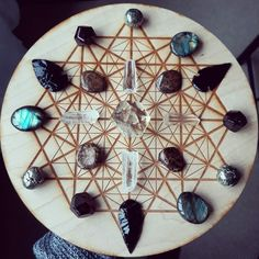 Crystal grid with Labradorite Pyrite, Obsidian arrow heads and Quartz Crystal's by Ethan Lazzerini. Can you make a grid for more than one person?... #crystalgrid #crystalhealing #crystals Chakra Crystals, Crystals Minerals, Gems And Minerals, Crystals And Gemstones, Stones And Crystals, Swarovski Crystals, Healing Stones, Crystal Healing, Lc Jewelry