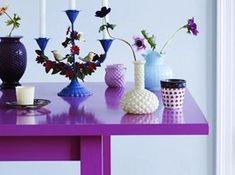 A fuchsia table decorated with pretty purple & blue home design decorating design interior design design ideas Decor, Purple Table, Inspiration, House Design, House Colors, Color Inspiration, Home Decor, House Interior, Color