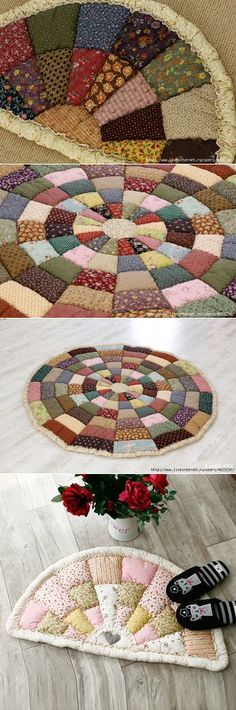 Brilliant and Easy DIY Rug Ideas on a Budget Crochet Edging Patterns, Quilt Patterns, Sewing Patterns, Patch Quilt, Quilt Blocks, Quilting Projects, Sewing Projects, Fabric Crafts, Sewing Crafts