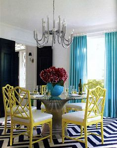 Family Room colors- aqua and yellow- not quite as vivid yellow