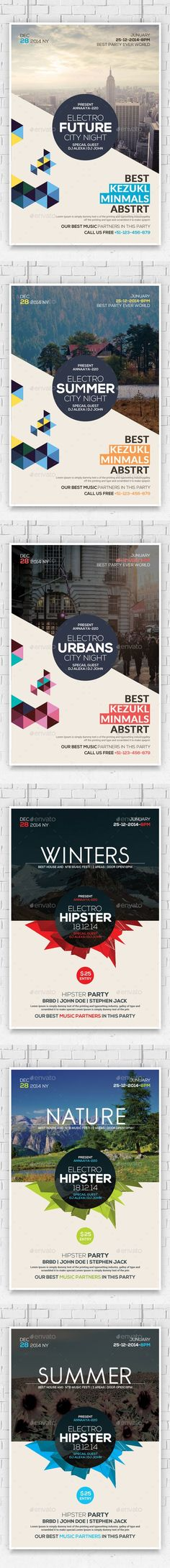 Hipster Party Flyers Bundle