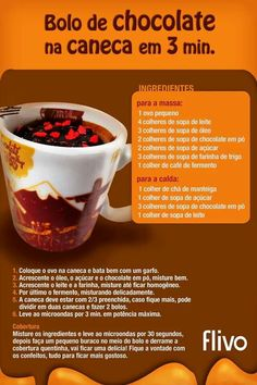 Bolo de chocolate  n caneca
