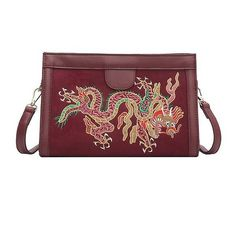 Red High-End Custom New Fine Embroidery Dragon Female Fashion Shoulder... ($13) ❤ liked on Polyvore featuring bags, handbags, shoulder bags, red cross body handbags, embroidered purse, crossbody shoulder bag, red crossbody purse and crossbody handbag