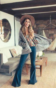 My style...womens fashion, ootd, cardigan, flared jeans #BohemianJewelry