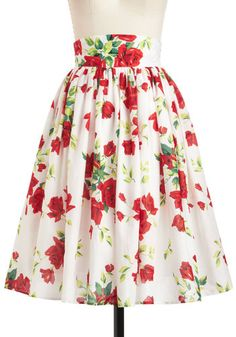 Glad Romance Skirt - White, Red, Yellow, Green, Floral, Daytime Party, A-line, Cotton, Long, Vintage Inspired, 40s, 50s, Spring