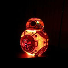 Carved Halloween Pumpkin of BB-8 from Star Wars The Force Awakens. BB8 Jack o' Lantern