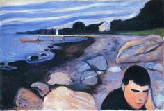 Melancholy 1892 - Edvard Munch. More colorful then the 1891 edition, giving the turned figure in the front a better melancholic expression by contrast then its predecessor from 1891 and in my opinion also better then the other 1894 and 1896 versions.