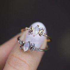 MOONDANCE. Opal & Cubic Zircona Silver Ring – REGALROSE