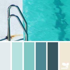 { color swim } image via: Cool blues and warm neutrals colour palette Color Schemes Colour Palettes, Blue Colour Palette, Bedroom Color Schemes, Bedroom Colors, Design Seeds, Summer Pinterest, Aqua Blue Bedrooms, Color Concept, Beach Color Palettes