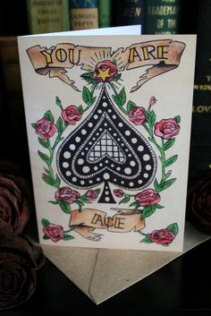 Bunch of Fives 'You are Ace.' (Spades of Roses) Greeting card. #Traditional #Tattoo #Love #Danse #Macabre All designs copyright Alice Durose © MMXIV