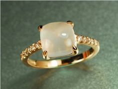 Prettier than diamonds! Engagement Ring - 21.5 Carat Moon Stone Ring With Diamonds In 14k Rose Gold