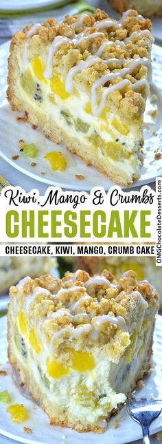 This Tropical Fruit Cheesecake crumb cake recipe with pineapple, kiwi and mango will make you feel like you're on summer vacation in tropical paradise. #kiwi #pineapple #mango #cheesecake #crumb #cake Easy No Bake Desserts, Delicious Desserts, Dessert Recipes, Dessert Ideas, Salad Recipes, Fruit Cheesecake, Cheesecake Recipes, Homemade Cheesecake, Classic Cheesecake