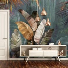 Tropical Colorful Leaves and Gold Color Bird Wallpaper, Tropical Leaf Banana Wallpaper Mural Background, Living Room, Bedroom,Peel and Stick Bird Wallpaper, Home Wallpaper, Ceiling Murals, Wall Murals, Home Room Design, Home Interior Design, Wall Clock Sticker, Colorful Wall Art, Mural Art