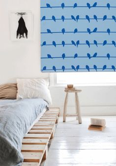 Roller blind 'Birds on a wire' - Blue