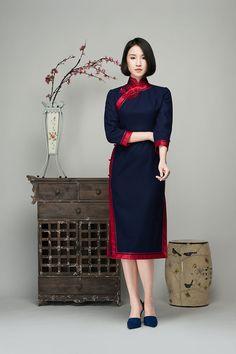 Navy wool blending cheongsam