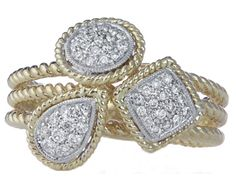 14k yellow gold pave diamonds on white gold round square and pear shaped fashion ring.
