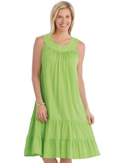Crinkle Gauze Sundress This comfortable slipover sundress has a trapunto banded neckline, soft shirring for easy fit and two-tiered flounce hem. Approximate lengths: Petite Misses Women's Beautiful Dresses, Nice Dresses, Casual Dresses, Fashion Dresses, Summer Dresses, Selena Dresses, Vestidos Plus Size, Baby Girl Dress Patterns, Night Dress For Women