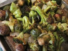 Roasted Broccoli, Brussels Sprouts, and Onions Shared on https://www.facebook.com/LowCarbZen