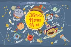 Clip art - Solar system by Kopirin on @creativemarket