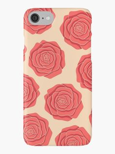 Roses Pattern iPhone 7 Case by Anastasia Shemetova #roses #flowers #art #illustration #botanical #nature #red #blossom #floral #faerieshop #pink #pattern #beige #delicate #cute #pastel #trendy #girly #girlish #romantic #vintage #cool #accessories #redbubble #phone #cases