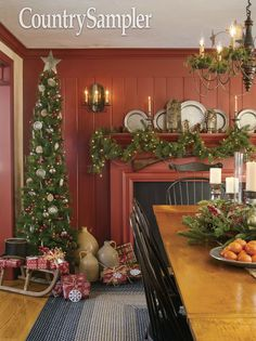 """Take a peek into this Christmas red Massachusetts Colonial decked out for the holidays in """"Colonial Traditions."""" Photographed and styled by Gridley + Graves. Primitive Christmas Decorating, Primitive Country Christmas, Prim Christmas, Antique Christmas, Christmas Time, Christmas Decorations, Holiday Decor, Christmas Stuff, White Christmas"""