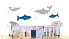 Shark Set Ocean Sea life fish Beach Nautical by ToodlesDecalStudio, $42.50