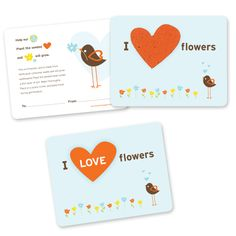 I Love Flowers Plantable Valentine's Day Cards