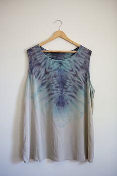 Hand Dyed Shibori Silk Top - 2XL