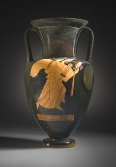 Nolan Amphora with Nike Carrying a Cithara and a Youth Reaching Toward Her Berlin Painter (school of) Greece, Attica, circa 470-460 B.C.