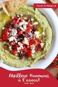 Houmous à l'avocat style grec: santé et délicieux Vegetable Pizza, Tacos, Lunch, Vegetables, Ethnic Recipes, Free, Greece Style, Lawyers, Hummus