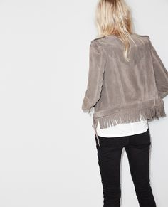 Jacket in suede with fringes - Short jackets - Women - The Kooples