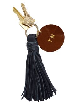 Wonder if I can make this myself...Clare Viver, Tassel and Monogram disc, $60.