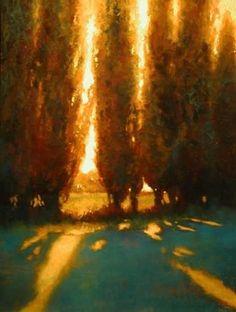 Tuscan Cypress Glow by Teresa Saia Pastel ~ 32 x 24