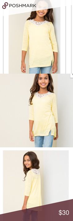 🆕 LEMON TUNIC 🆕 Brand New!!! Girls boutique top. Lemon color tunic with lace neck and button detail and 3/4 sleeve. Made of 65% polyester and 35% rayon. Has a good stretch. Hayden Girls Shirts & Tops