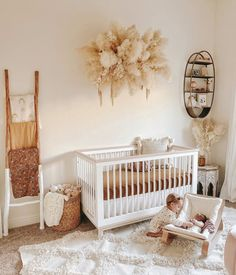 Project Nursery on OK, how gorgeous is this pampas wall hanging for this precious neutral nursery. TAP image to shop this crib, baby rocker and more -- Baby Room Design, Nursery Design, Baby Bedroom, Baby Room Decor, Baby Room Themes, Nursery Themes, Girl Nursery, Girl Room, Boho Nursery