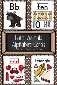 26 DIFFERENT over the chalkboard Alphabet Cards for your farm themed classroom! Farming is a fun theme in the elementary classroom! Students will love these alphabet cards featuring these pictures: ♞A is for Alligator ♞B is for Bull ♞C is for Cow ♞D is for Duck ♞E is for Eggs ♞F is for Farm ♞G is for Goat ♞H is for Horse ♞I is for Insect (honey bees in a hive) ♞J is for Jack Russell Terrier (dog) ♞K is for Kids ♞L is for Lambs ♞M is for Mice ♞N is for Nest (hen with chick hatching from egg)…