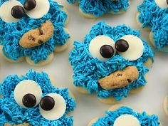 Shortcuts: use store bought butter cookies (with hole in center) & top with blue-tinted coconut