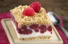 Raspberry Squares Recipe. Light, fruity & sweet treat.  #Recipes #HealthyRecipes #Nutrition #HealthTips #Wellness #HealthyLiving #HealthyLifestyle #yum #food #healthydesserts #dessert #dessertrecipes