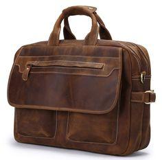 Image of Men's Genuine Leather Briefcase Shoulder Messenger Bag Laptop Bag A03