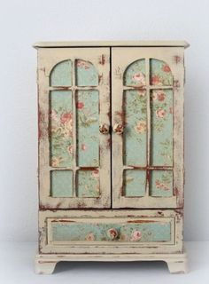 shabby chic amoires | Huge Shabby Chic Jewelry Box Dresser Armoire French Monogrammed OOAK