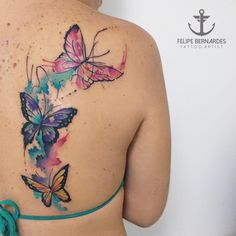 Dream tattoos, body art tattoos, rose and butterfly tattoo, butterfly water Haut Tattoo, Tattoo Femeninos, Tattoos 3d, Dream Tattoos, Flower Tattoos, Body Art Tattoos, Small Tattoos, Tattoo Baby, Tattos