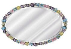 Floral Beveled Oval Wall Mirror Antique Reproduction, Hand Painted Pastel Colors