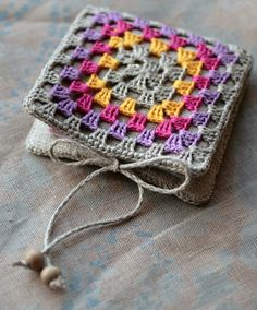 Small Linen Needle Book with Crocheted detail  Granny by namolio, $24.50