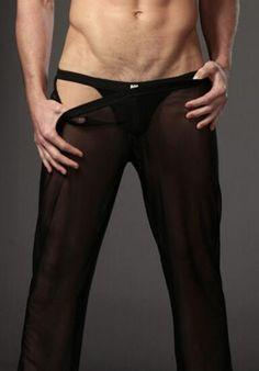 Men Sexy Sleep Bottoms Net Yarn Trouser Low Waist Sexy Short Fun men's underwear Gay Sleepwear Huge Penis Comfortable Breathable